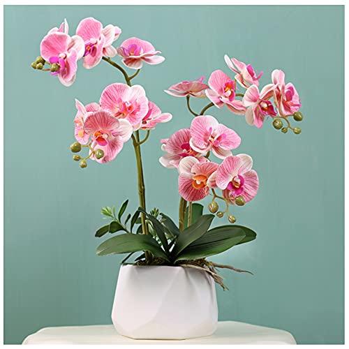 WDDLD Flores Artificiales, Coloque OrquíDeas Artificiales En Macetas De Flores Artificiales con Jarrones para La DecoracióN del Interior del Hogar (Jarrones Blancos)