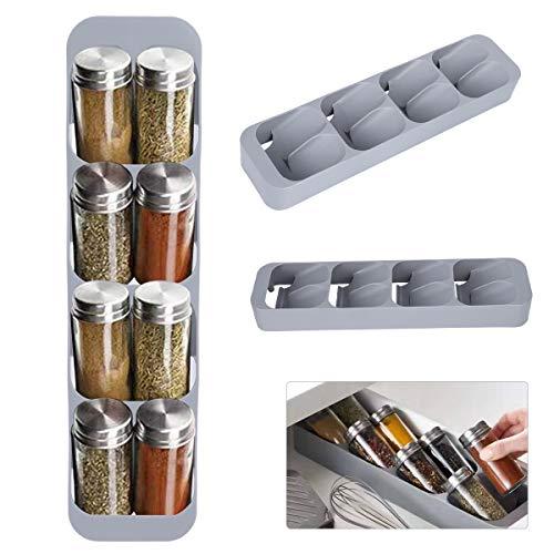 HelloCreate Organizador de tarros de especias, bandeja organizadora de cajones de cocina, 8 rejillas para organizar suministros de cocina