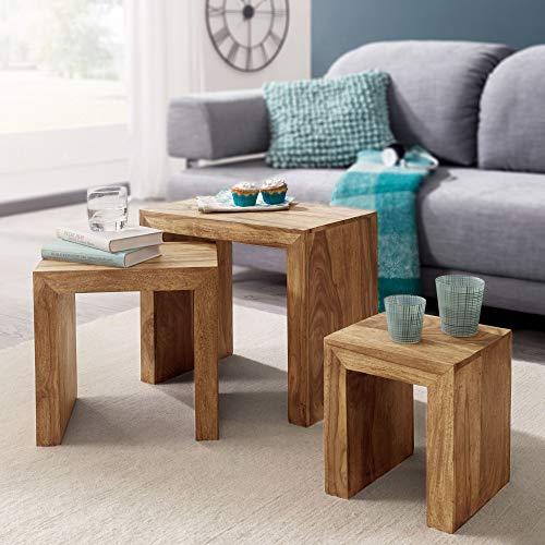 FineBuy 3er Set Satztisch Massiv-Holz Wohnzimmer-Tisch Landhaus-Stil Beistelltisch dunkel-braun Naturholz Couchtisch Natur-Produkt Wohnzimmermöbel Unikat Massivholzmöbel Echtholz Anstelltisch (Akazie)