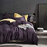 """mixinni 3 Piece Purple Duvet Cover King Cotton Modern Bedding Set with Two Pillowcases, Perfect for """"Him and Her"""",Soft and Breathable with Zipper Closure & Corner Ties-(Purple,King)"""