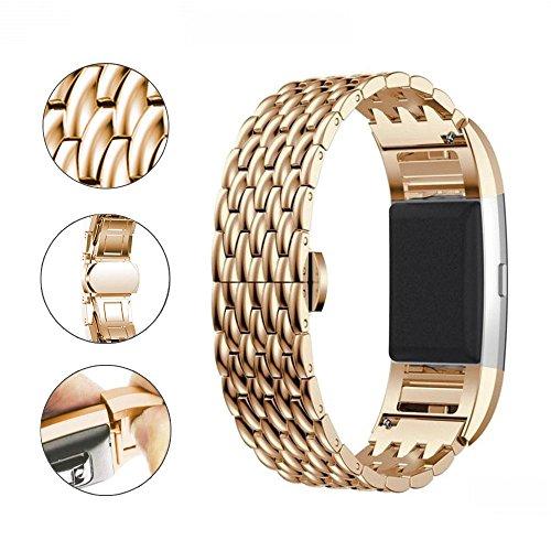 Aottom Kompatibel für Edelstahl Armband Fitbit Charge 2 Roségold,Fitbit Armband Charge2 Edelstahl Erastz Armband Metall Charge2 Sportarmband mit Metallschließe für Smartwatch Fitbit Charge 2