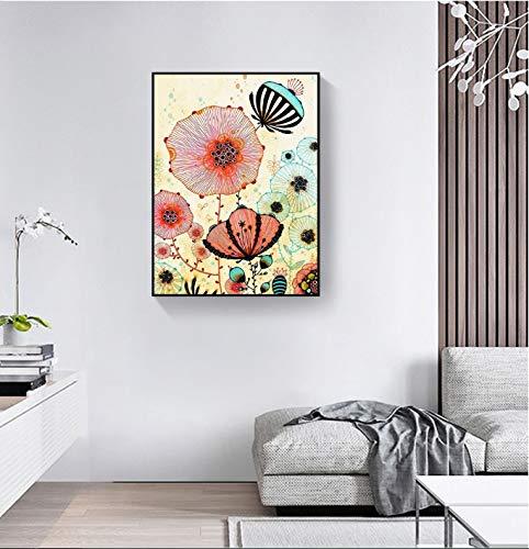 Fincico Retro Blumen Drucken Bild Dekorative Malerei Modulare Bild Wandkunst Leinwand Malerei für Wohnzimmer Roomd 60x80cm
