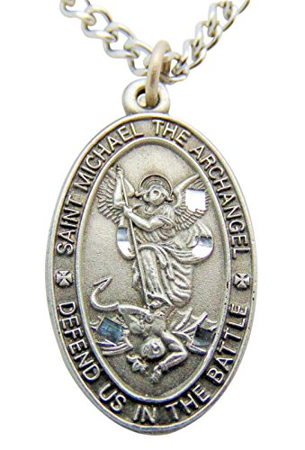 Saint Michael Pewter Medal Oval Pendant 1 Inch on 24 Inch Stainless Steel Chain Gift
