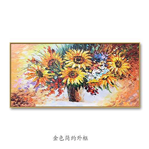 Huwelijkscadeau groot gekleurde dikte zonnebloem abstract groot modern groot abstract handgetekend olieverfschilderij op canvas schilderij hedendaagse kunst abstract olieverfschilderij oversized muurkunst 110×220cm(44×88 inch)