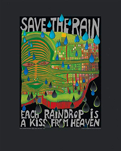 Kunstdruck/Poster: Friedensreich Hundertwasser Save The Rain - hochwertiger Druck, Bild, Kunstposter, 40x50 cm