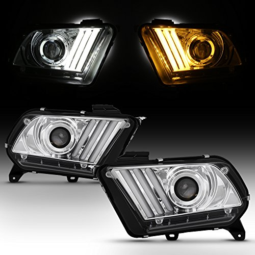 For 2010-2014 Ford Mustang LED Tube Daytime Running Lamp w/Sequential Turn Signals Projector Headlights Chrome Housing