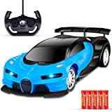 Cusocue Remote Control car,RC Cars 1/16 Scale Drift Toy Racing Bule Car,with LED Lights High Speed Car for Kid 3 4 5 6 7 8 9 Year Old Kids Boys and Girls