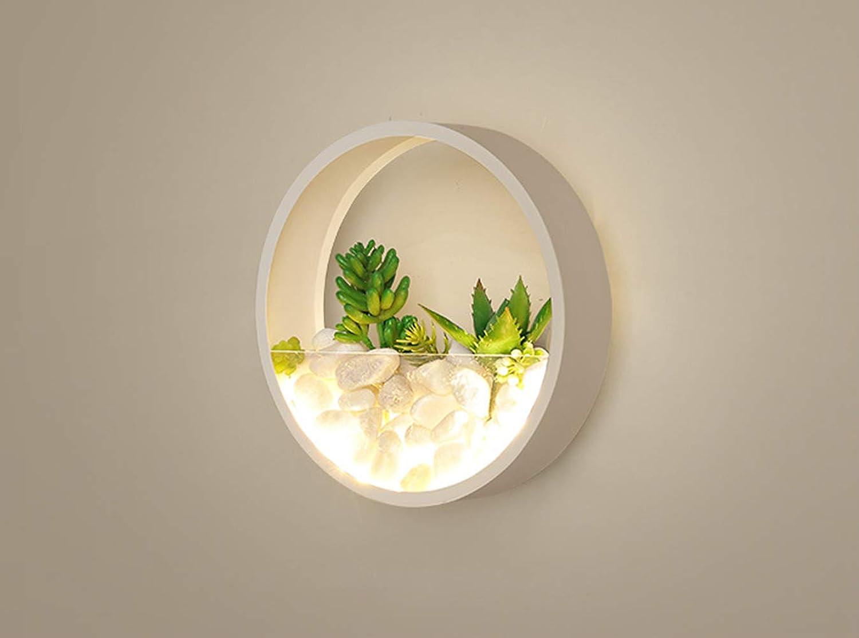 HIL Runde Pflanze Wandlampe TriFarbe Lampe Moderne Minimalistische Persnlichkeit LED Nachttischlampe Schlafzimmer Wohnzimmer Gang Dekorative Wandlampe  20CM 6-10W Wei