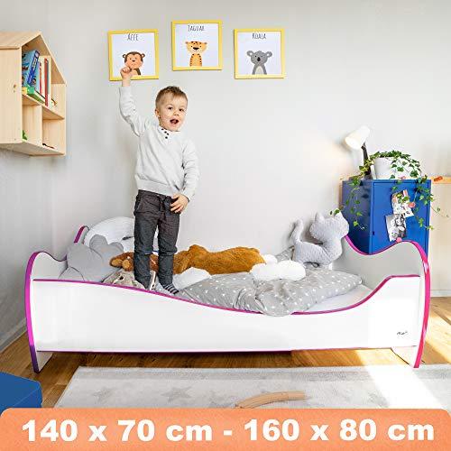 Alcube Kinderbett Swinging Pink Edge 160 x 80 cm mit Rausfallschutz, Lattenrost und Matratze MDF beschichtet