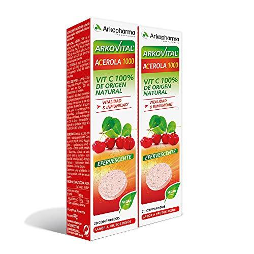 Arkopharma Arkovital Acerola 1000 Efervescente Pack 40 Comprimidos  Vitalidad   Inmunidad   Vitaminas Naturales de Mayor Absorción   Vitamina C 100% Natural