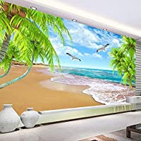 MAZF 写真の壁紙3D自然風景ココシーサイド壁画リビングルームテレビソファテーマホテル背景壁布3D140 cm(B)x 70 cm(H)