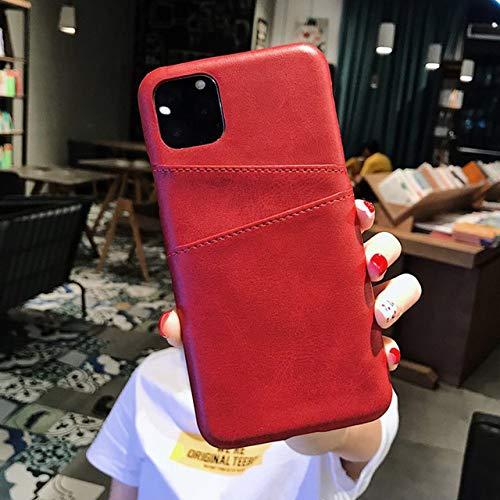 TGHUK iPhone hoesje, rode kaarthouder hoes PU leer portemonnee achterkant hoes anti-koptelefoon afdekking voor iPhone 11 Pro Max Xr X Xs Max 8 7 Plus