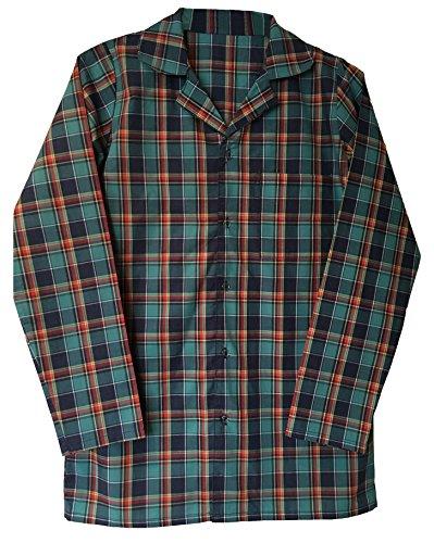 "sock snob Herren 100{23a39f87c30b7e19155061a5eb9da3b7231b5b59c2a755a9d8c8b80fa27e6c86} Baumwolle elegant Flanell Langarm Nachthemd Pyjama Oberteil in 4 größen (XL - 42-44\"", Green/Red)"