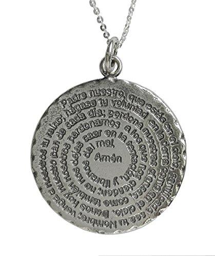 Alylosilver Collar Colgante Medallón con la Oración del Padre Nuestro en Plata para Mujer - Incluye Cadena de Plata de 45 cm y Estuche para Regalo