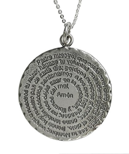 Alylosilver Collar Colgante Medalla con la Oracion del Padre Nuestro en Plata para Mujer - Incluye Cadena de Plata de 45 cm y Estuche para Regalo