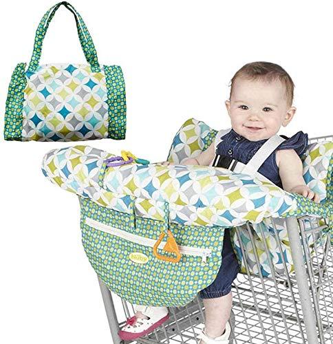 Cojín de asiento 2 en 1 para niños, plegable, para carrito de la compra, asiento de seguridad para bebé, silla de compras, trona (estilo A)
