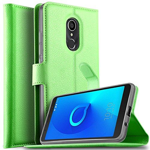 KuGi DOOGEE X6S Hülle, DOOGEE X6S Wallet Case, Brieftasche Case Hülle PU Kunstleder Flip Case mit Standfunktion Kartenfächer & Bargeld für DOOGEE X6S Smartphone.Grün