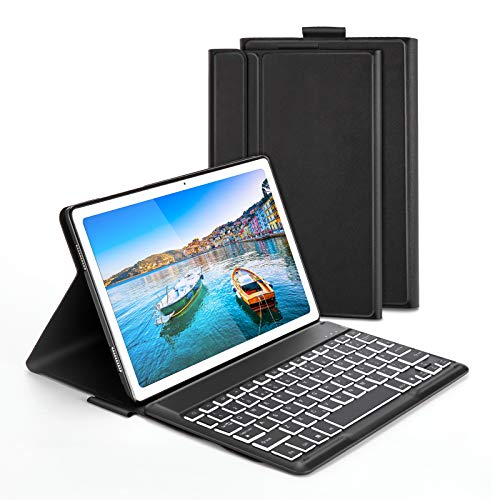 Keyboard Case for Samsung Galaxy Tab A7 2020 10.4-inch, Jelly Comb Bluetooth Backlit Removable Keyboard Qwerty UK Layout with Stand Cover for Samsung Galaxy Tab A7 10.4 2020 (SM-T500,T505,T507), Black