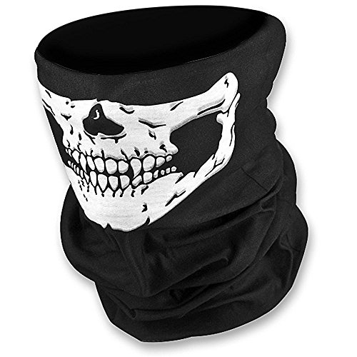 2 Stück Premium Sturmmaske Totenkopf Skull Maske Multifunktionstuch Schlauch Nahtlos Schädel Sturmmaske Ghost für Motorrad Fahrrad Ski Paintball Gamer Karneval Kostüm