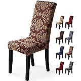 Fundas para sillas 6 Piezas Funda de Silla Comedor Stretch Cubiertas para sillas Extraíble Lavable Cubierta de Asiento Fundas sillas Duradera Modern Boda Decor Restaurante(Jacquard-Rojo Oxidado)