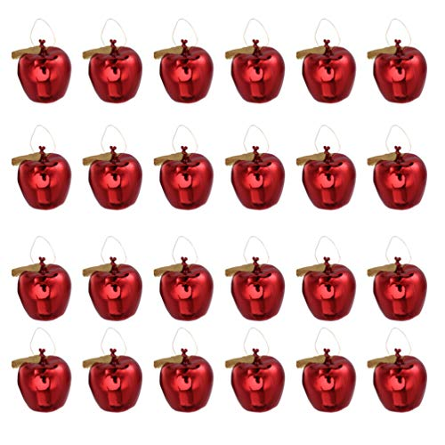 VOSAREA 24 PCS Mini Hanging Apple Ornaments Christmas Tree Pendant Baubles for Xmas Holiday Decoration Supplies - Red