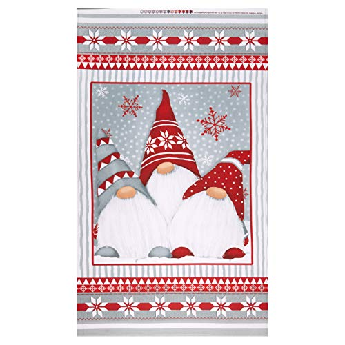 Henry Glass Flannel Winter Whimsy 24in Gnomes Panel Red/Gray Fabric