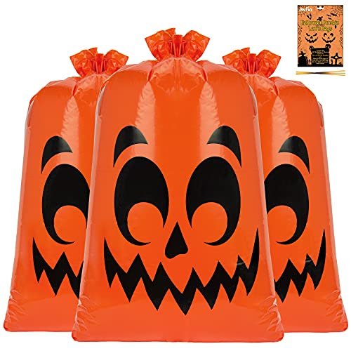 3 Pack Pumpkin Leaf Bags Giant Halloween Trash Bags 30 x 48 in Fall Leaves Lawn Bags Plastic with Twist Ties for Outdoor Yard Decoration