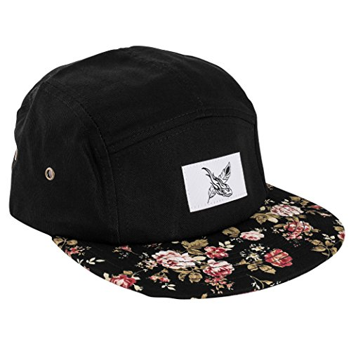 Blackskies Black Beauty 5-Panel Cap Rose Schwarz mit Blumen Unisex Baseball Mütze