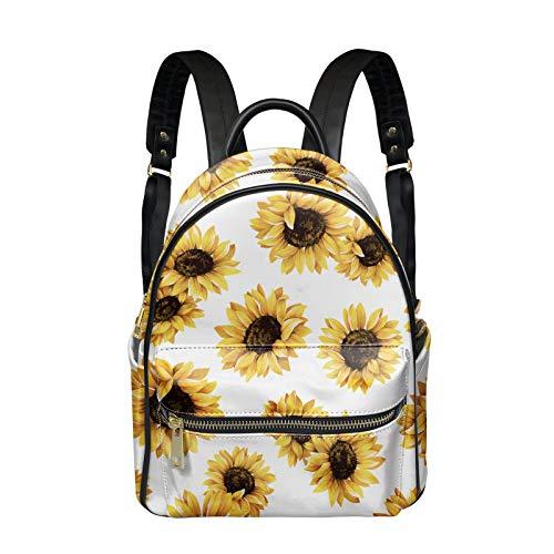 NETILGEN Sunflower Printed PU Leather Backpack for Women Girls, Zipper Shoulder Strap Bag Travel Bag Handbag Waterproof School College Bag for Student Young