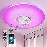 Style home 36W Bluetooth Deckenleuchte RGB LED Deckenlampe mit Lautsprecher, Fernbedienung und APP-Steuerung, Farbwechsel, dimmbar, Sternenhimmel Lampe (500 * 55mm)