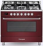 Bompani BO 689 - Cocina eléctrica de gas (90 cm, 114 L, quemador de gas de 3,8 kW, horno eléctrico con 7 funciones, gas natural, gas natural, gas líquido, fabricado en Italia)