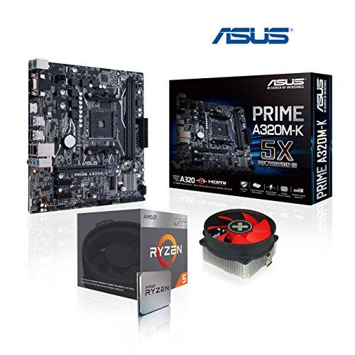 Memory PC Aufrüst-Kit AMD Ryzen 5 3400G AM4 QuadCore 4X 3.7 GHz, Ohne RAM, ASUS Prime A320M-K, komplett fertig montiert und getestet