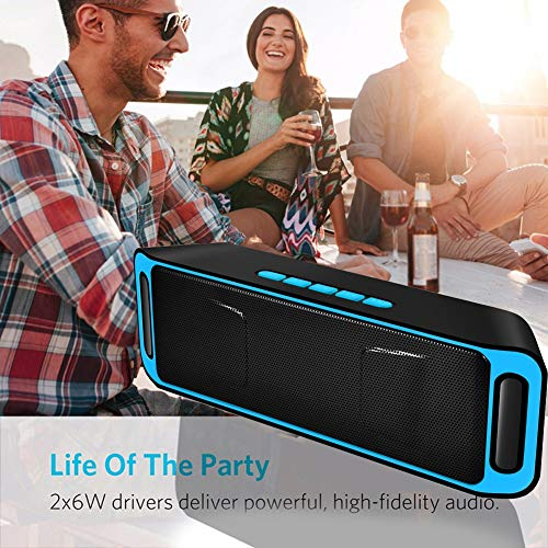Check Out This FOOSKOO Wireless Bluetooth Speaker Portable Speaker Subwoofer Stereo Outdoor Speaker Waterproof Smart Speakers Voice Calls Play Format MP3, APE, WMA, FLC (Color : Blue)