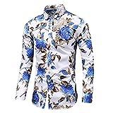 Hombres Slim Floral Imprimir Camisetas de manga larga Casual Algodón Botón regular Up Gemelos Vestido formal Camisa #, (Color : 8211 blue, Size : Asian size 5XL)