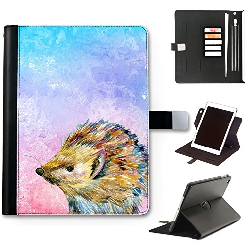 Hedgehog Case For Apple iPad Pro 12.9 (2020) (4th Gen) 12.9 inch, Watercolour Art Print leather iPad Case, side flip wallet case, 360 swivel folio cover