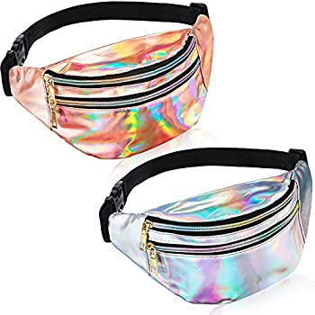 2 Pieces Holographic Fanny Pack Metallic Color Sport Waistbag for Women Men Kids  Shiny Silver and Rose Gold