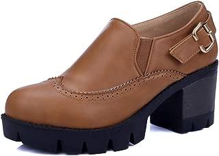 Veveca Women Round Toe Slip On Buckle High Heel Vintage Dress Oxfords Shoes Chunky Platform Oxford Pump