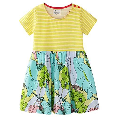 Abito in Cotone per Bambini Bambini Estate Girocollo Vestito a Righe T-Shirt Stampata Gonna Il Tessuto è Morbido E Confortevole (Color : Yellow, Size : 7 Years)