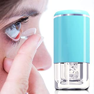 Portable Contact Lens Cleaner, Oweilan Automatic Contact Cleaner Machine with USB Charging Cable for Travel & Home, Fast Vibration Contact Lens Cleaning Machine for Soft Lens (Blue)