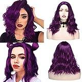 YMHPRIDE, pelucas cortas y rizadas de aspecto natural, pelucas de moda púrpura sintética de parte media, vestido elegante, peluca de fiesta para mujer, 16 pulgadas