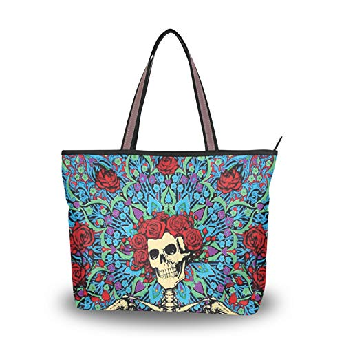 Bolsos de hombro Flor Encantadora calavera muerta para mujeres, niñas, señoras, bolso de estudiante, bolso de compras, bolsos de mano con correa liviana