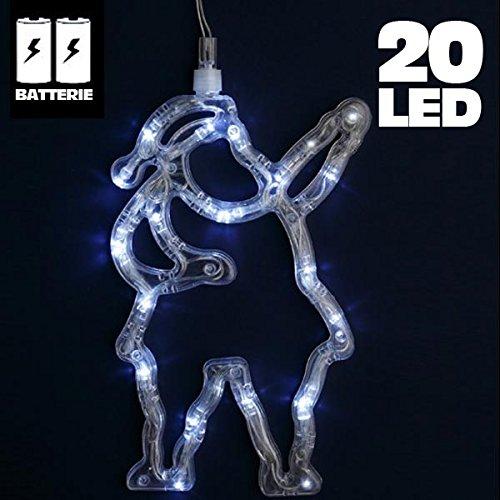 Bakaji Lighting Babbo Natale Luminoso 20 LED Natalizio Alimentazione a Batterie Illuminazione Santa Claus