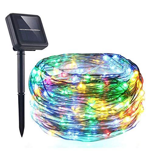 AICase Catena Luminosa Solare da Esterno,22m 200 LED Stringa Luci Solari Impermeabile IP67 per Decorazione Giardino, Camera da Letto, Matrimonio, Albero di Natale (Multicolore)