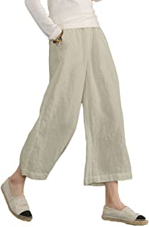 c4b899e54bd6d9 Ecupper Womens Casual Loose Plus Size Elastic Waist Cotton Trouser Cropped Wide  Leg Pants