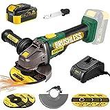 Amoladora Angular 18V Brushless, POPOMAN 4.0Ah Batería, Cargador Rápido, 2 Discos para Lijar y 3 para Cortar, Mango Auxiliar de Tres direcciones, 2 Cubiertas Protectoras de Ruedas (Mejorada)