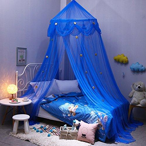 Pueri Baby sänghimmel dekoration baldakinmyggnät barn prinsessa lektält dekoration för barnrum, baby baldakinen säng himmel barn säng gardin garn dekoration för sovrum omklädningsrum (blå)