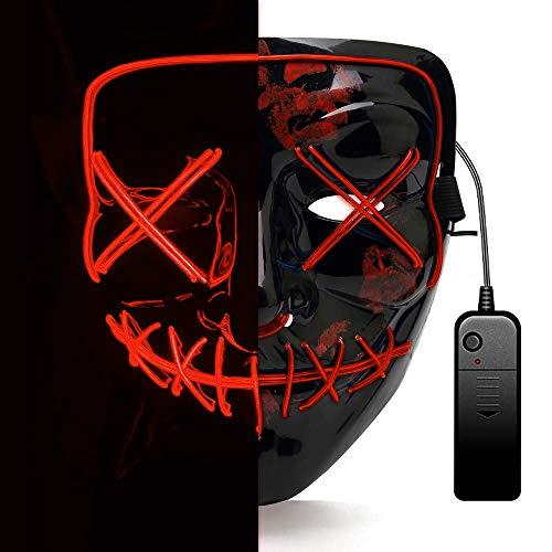 AUGOLA Halloween LED Maschera, The Purge Mask LED Maschera Viso 3 modalità di Luci per Festival Cosplay Costume Supplies Festa Maschere Si Illuminano al Buio (Rosso)