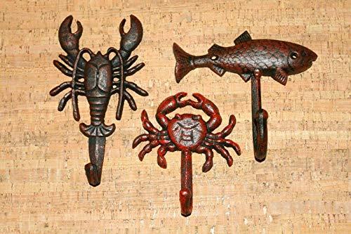 Crawfish Crab Redfish Kitchen Towel Hooks  Seafood Delight-Kitchen Towel Hook-Towel Rack-Wall Hooks-Towel Hooks-Towel Holder-Wall Hooks for Hanging-Wall Hook-Hooks for Hanging -Hooks