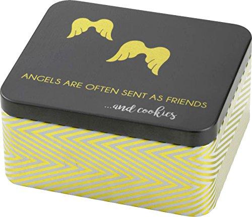 Lata de regalo para pastelería, diseño de ángel con texto en inglés 'Angel are oft as friends' (21 piezas, 15 x 13 x 7 cm)