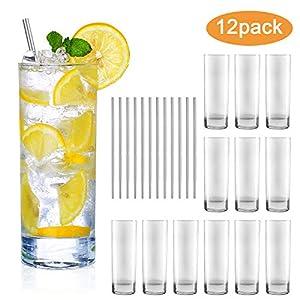 Glass Cups 10 oz,QAPPDA Clear Highballl Glass Cocktail Glass Drinking Glasses...